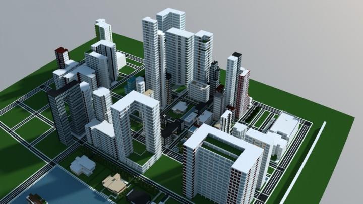 Карта современный город на Майнкрафт