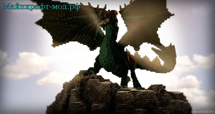 Карта с драконом на Майнкрафт