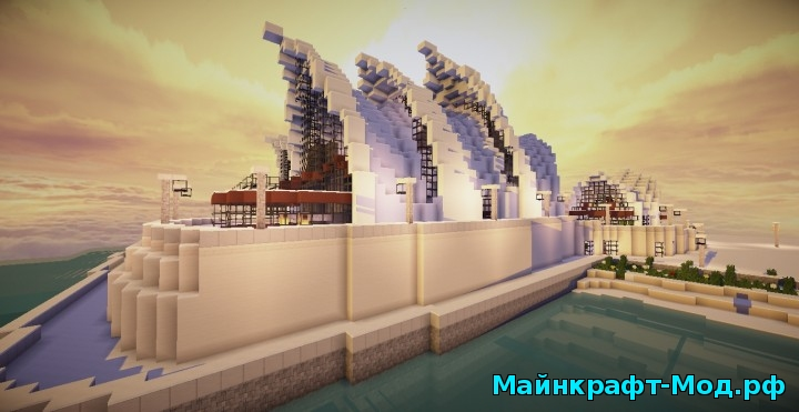 большой город на Minecraft