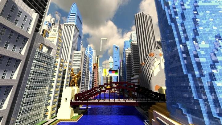 Красивый современный город на Майнкрафт