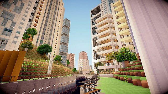 Карта большой современный город на Minecraft