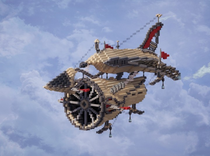 Воздушный самолет Стимпанк Майнкрафт