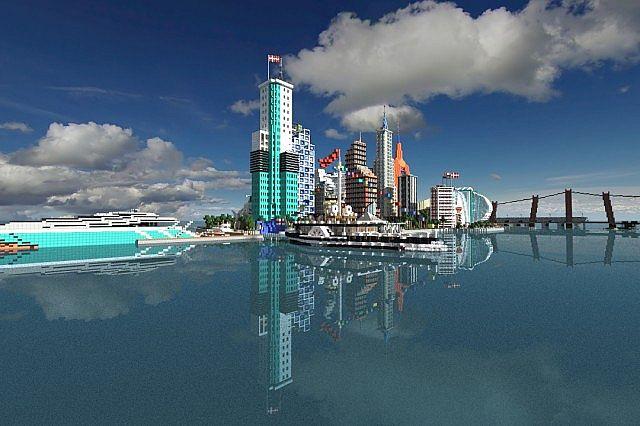 Современный город карта на Minecraft