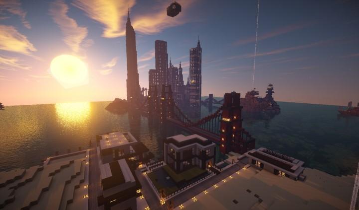Большой современный город Minecraft