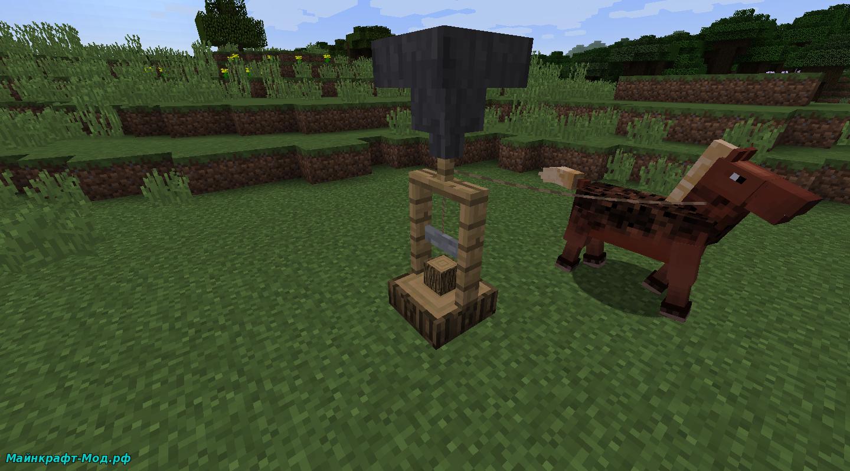Механизм работающий с лошадью в Майнкрафт