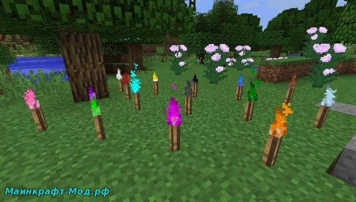 Разноцветные факелы в Майнкрафт
